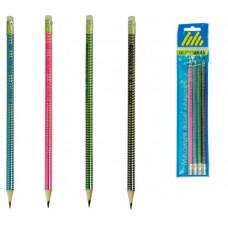 Набір олівців графіт. Buromax Holograma ВМ8522 HB з гумкою 4шт. блістер