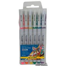 Набір ручок гелевих BM8340-76 NEON /синя, червона, фіолетова, зелена, рожева, жовта/