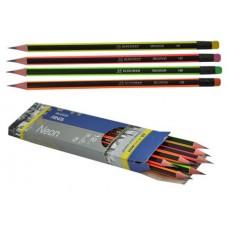 Олівець графіт. Buromax Neon ВМ8508 HB з гумкою