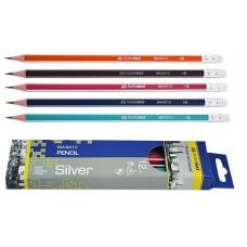 Олівець графіт. Buromax Silver ВМ8510 HB з гумкою