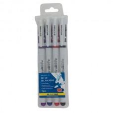 Набір ручок гелевих BM8340-74 JOBMAX /чорна,синя,червона,фіолетова/